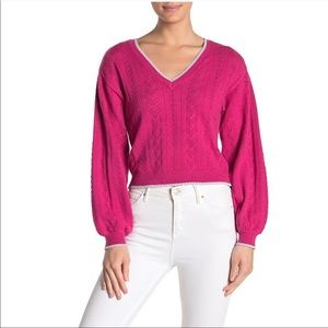 Bright Pink V-neck Long Sleeve Sweater Size M